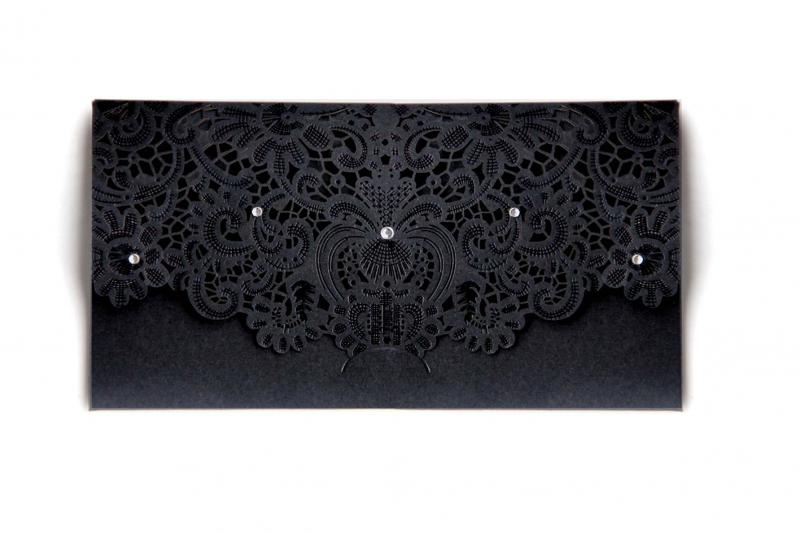 Black Laser Cut Money Wallet