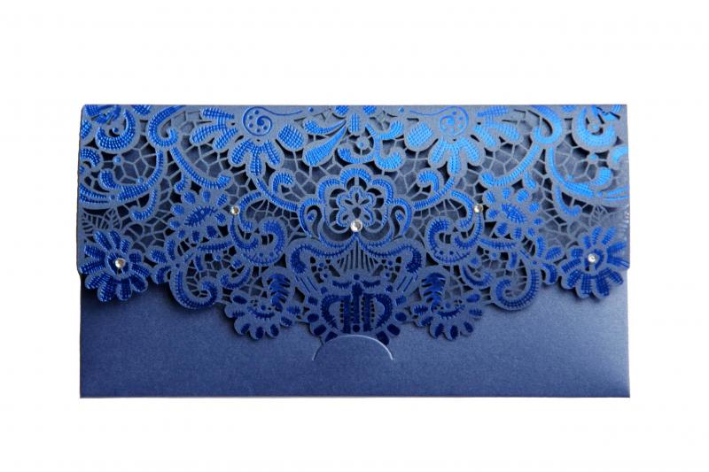 Blue Laser Cut Gift Money Vouchers Tokens Wallet Card Envelope