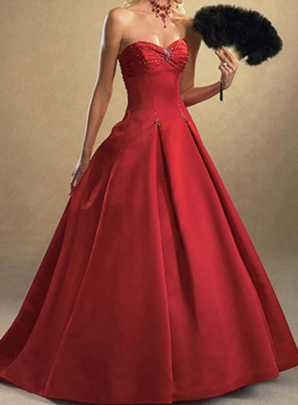 Red Satin Wedding Ball Gown Dress