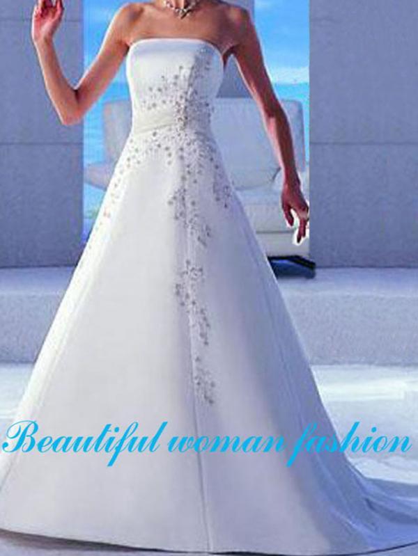 Bespoke White Satin Wedding Ball Gown Dress