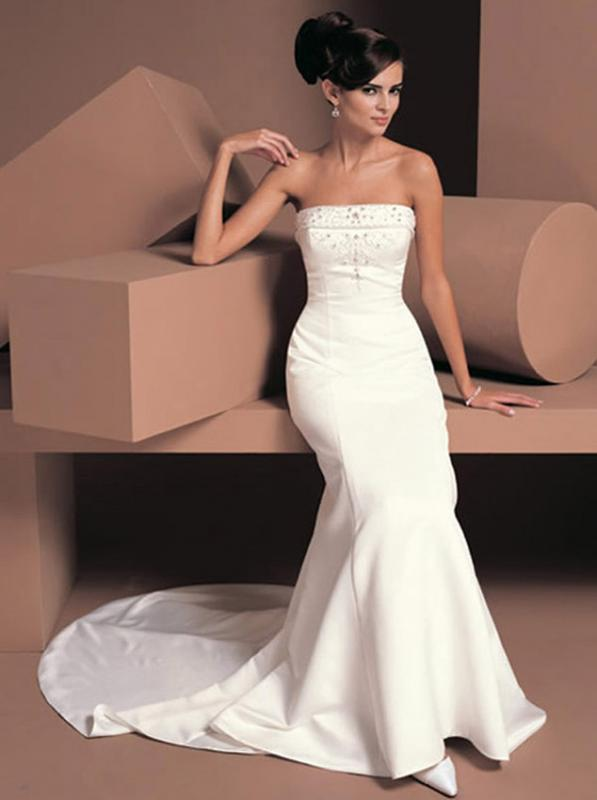 Ivory/White Satin Wedding Dress Fishtail