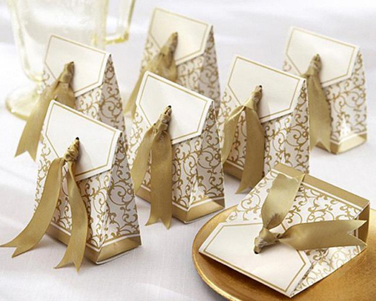 XL Wedding gold floral pattern favour box with gold ribbon tie