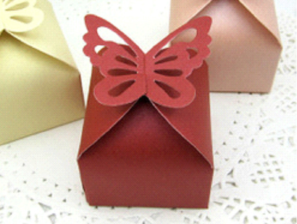 XL Wedding burgundy laser cut butterfly favour boxes