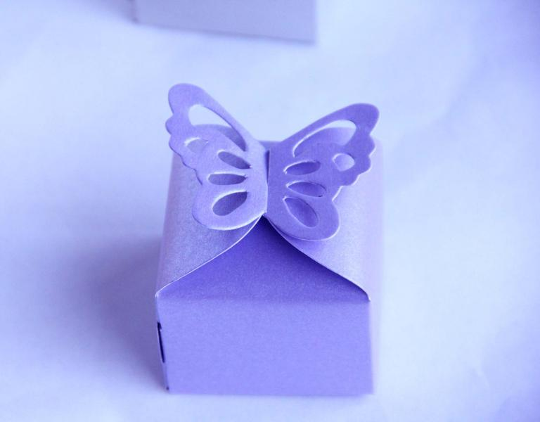 XL Wedding lilac laser cut buttefly favour box