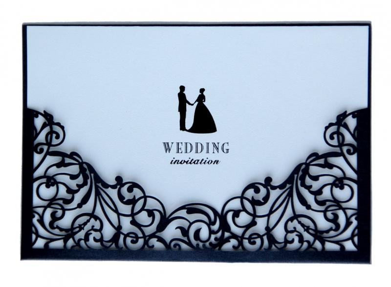 Black laser cut wedding invitation