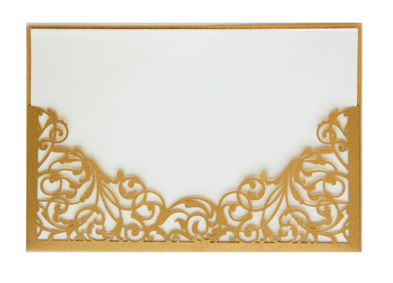 XL Wedding beautiful gold laser cut invitation card and envelope