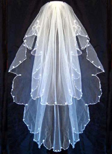 2 Tier White/Ivory Bridal Wedding Veil with Pearls